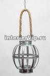 Подсвечник металлический с ручкой из джута