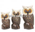 Комплект деревянных статуэток Три совушки