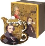 Чайник заварочный с чашкой и блюдцем